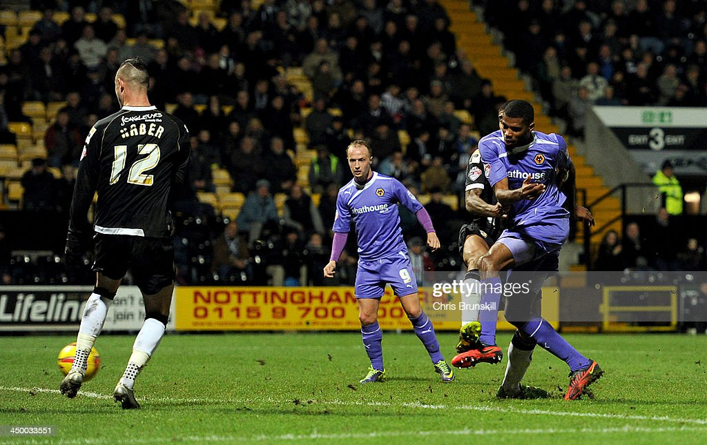 Ethan Ebanks-Landell of Wolverhampton Wanderers scores the opening goal during the Sky Bet League One match between Notts County and Wolverhampton Wanderers at Meadow Lane on November 16, 2013 in Nottingham, England.