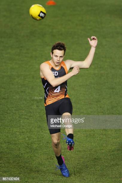 Ethan Floyd from Geelong Falcons kicks the ball at goal during the AFLW Draft Combine at Etihad Stadium on October 4 2017 in Melbourne Australia