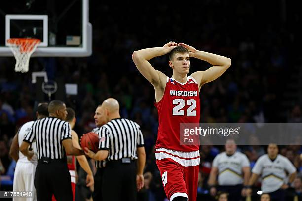 Ethan Happ of the Wisconsin Badgers reacts after fouling out in the second half against the Notre Dame Fighting Irish during the 2016 NCAA Men's...