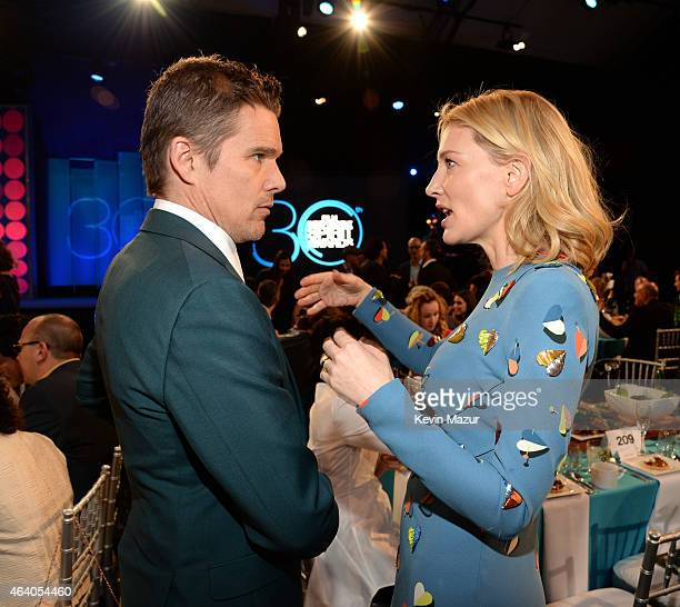 Ethan Hawke and Cate Blanchett attend the 2015 Film Independent Spirit Awards at Santa Monica Beach on February 21 2015 in Santa Monica California