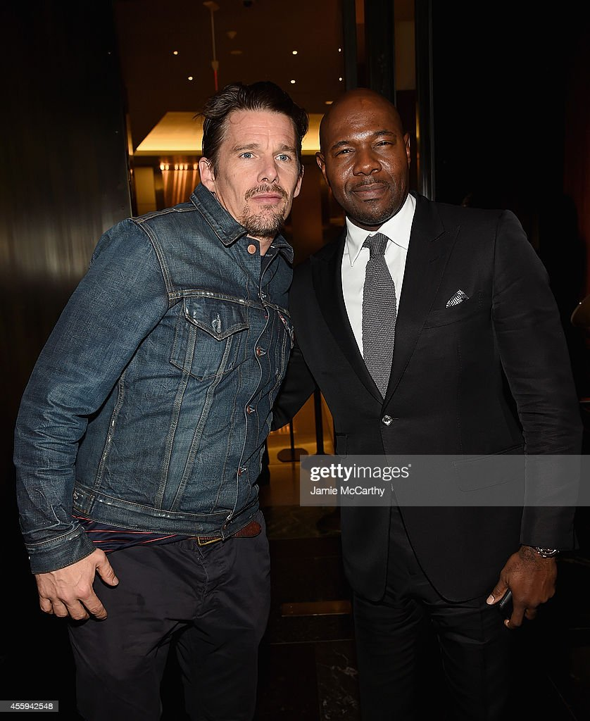 Ethan Hawke and director Antoine Fuqua attend the 'The Equalizer' New York premiere after party at Stone Rose Lounge on September 22 2014 in New York...