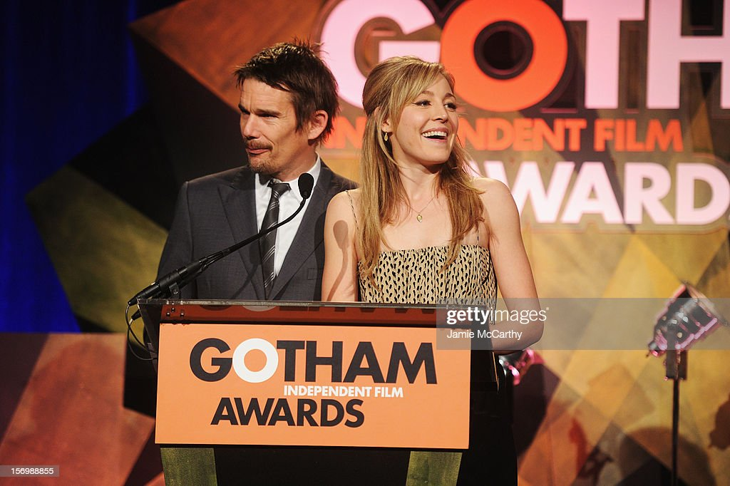 <a gi-track='captionPersonalityLinkClicked' href=/galleries/search?phrase=Ethan+Hawke&family=editorial&specificpeople=178274 ng-click='$event.stopPropagation()'>Ethan Hawke</a> and Juliet Rylance speak onstage at the 22nd Annual Gotham Independent Film Awards at Cipriani Wall Street on November 26, 2012 in New York City.