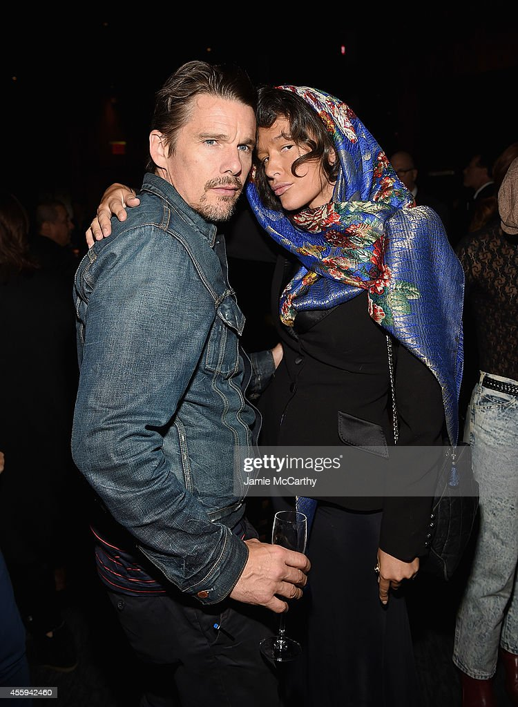 Ethan Hawke and Paz de la Huerta attend the 'The Equalizer' New York premiere after party at Stone Rose Lounge on September 22 2014 in New York City