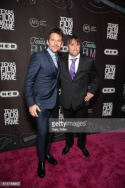 Ethan Hawke and Rick Linklater attend the Austin Film Society's 2016 Texas Film Awards at Austin Studios on March 10 2016 in Austin Texas