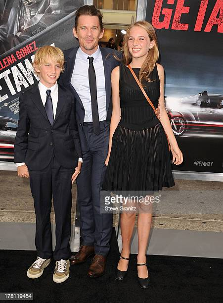 Ethan Hawke and son Roan ThurmanHawke and sister Maya ThurmanHawke arrives at the 'Getaway' Los Angeles Premiere at Regency Village Theatre on August...