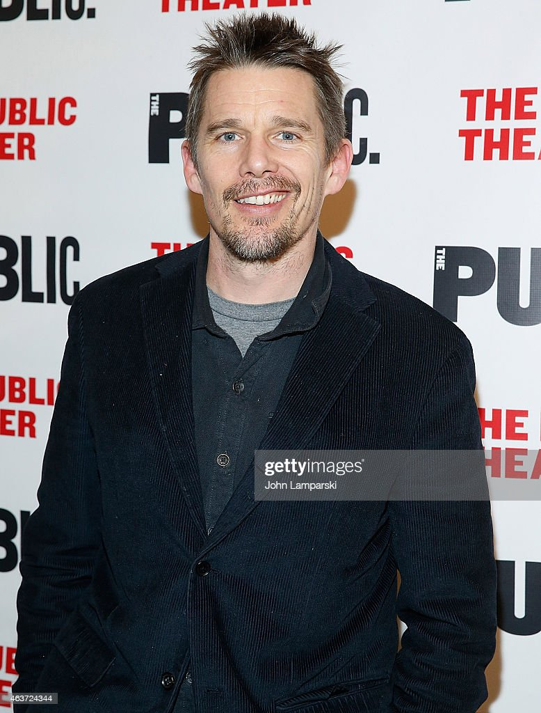 Ethan Hawke attends 'Hamilton' Opening Night at The Public Theater on February 17, 2015 in New York City.
