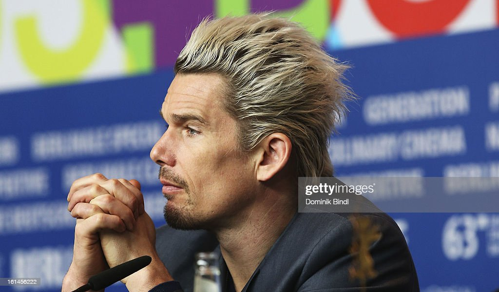 <a gi-track='captionPersonalityLinkClicked' href=/galleries/search?phrase=Ethan+Hawke&family=editorial&specificpeople=178274 ng-click='$event.stopPropagation()'>Ethan Hawke</a> attends the 'Before Midnight' Press Conference during the 63rd Berlinale International Film Festival at the Grand Hyatt Hotel on February 11, 2013 in Berlin, Germany.