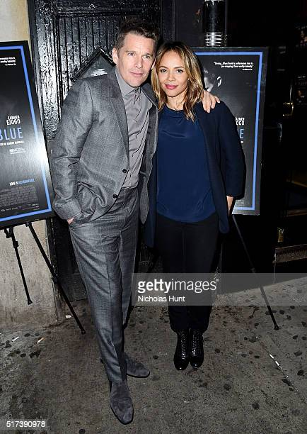 Ethan Hawke Carmen Ejogo attend the 'Born To Be Blue' New York Screening at Blue Note Jazz Club on March 24 2016 in New York City