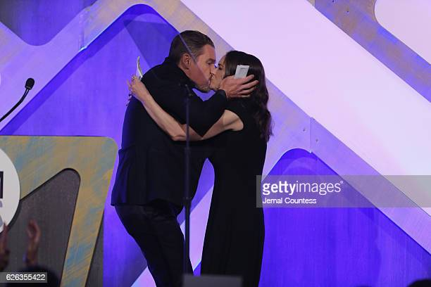 Ethan Hawke kisses Winona Ryder onstage at IFP's 26th Annual Gotham Independent Film Awards at Cipriani Wall Street on November 28 2016 in New York...