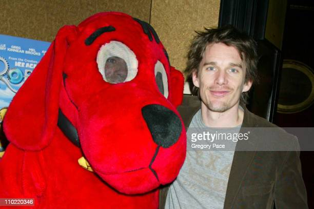 ethan hawke poses with clifford the big red dog during robots special new york - Clifford The Big Red Dog Halloween Costume