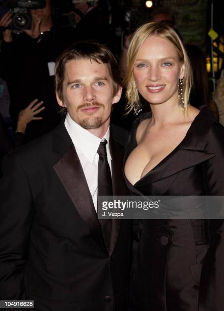 Ethan Hawke Uma Thurman during 2002 Vanity Fair Oscar Party Hosted by Graydon Carter Arrivals at Morton's Restaurant in Beverly Hills California...
