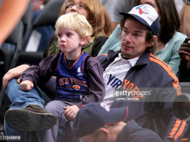 Ethan Hawke with son during Celebrities Attend Golden State Warriors vs New York Knicks Game November 6 2005 at Madison Square Garden in New York...