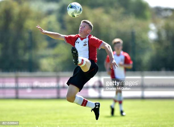 Ethan Hill of Southampton during the NI Super Cup junior section game between Southampton and County Antrim at the Riada Stadium on July 24 2017 in...