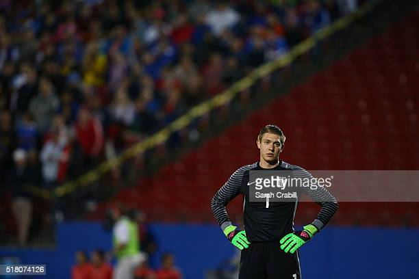 Ethan Horvath of the US Under23 Men's National Team reacts after Colombia scores during the first half of the 2016 CONCACAF Olympic Qualifying...
