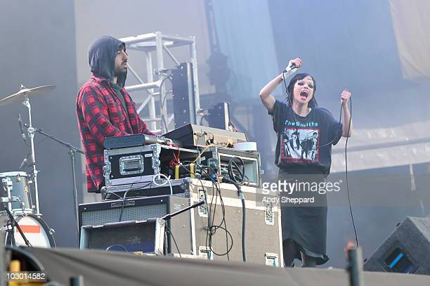 Ethan Kath and Alice Glass of Crystal Castles perform on stage during day two of Latitude Festival 2010 at Henham Park Estate on July 17 2010 in...