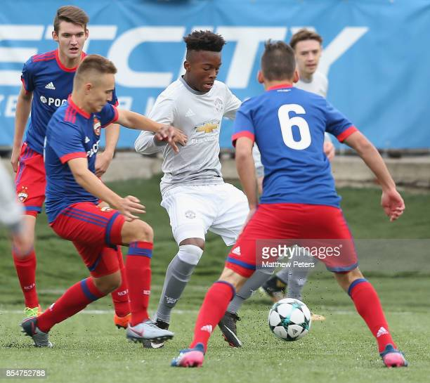 Ethan Laird of Manchester United U19s in action during the UEFA Youth League match between CSKA Moskva U19s and Manchester United U19s at Oktyabr...