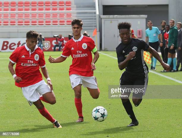Ethan Laird of Manchester United U19s in action during the UEFA Youth League match between Benfica U19s and Manchester United U19s at Caixa Futebol...