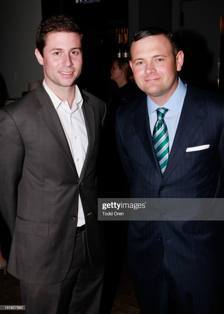 Ethan Lazar (L) and producer Christopher Woodrow attend the Worldview Entertainment Cocktail Party and Dinner at Brassaii Restaurant and Lounge during the 2012 Toronto International Film Festival at Brassaii on September 11, 2012 in Toronto, Canada.