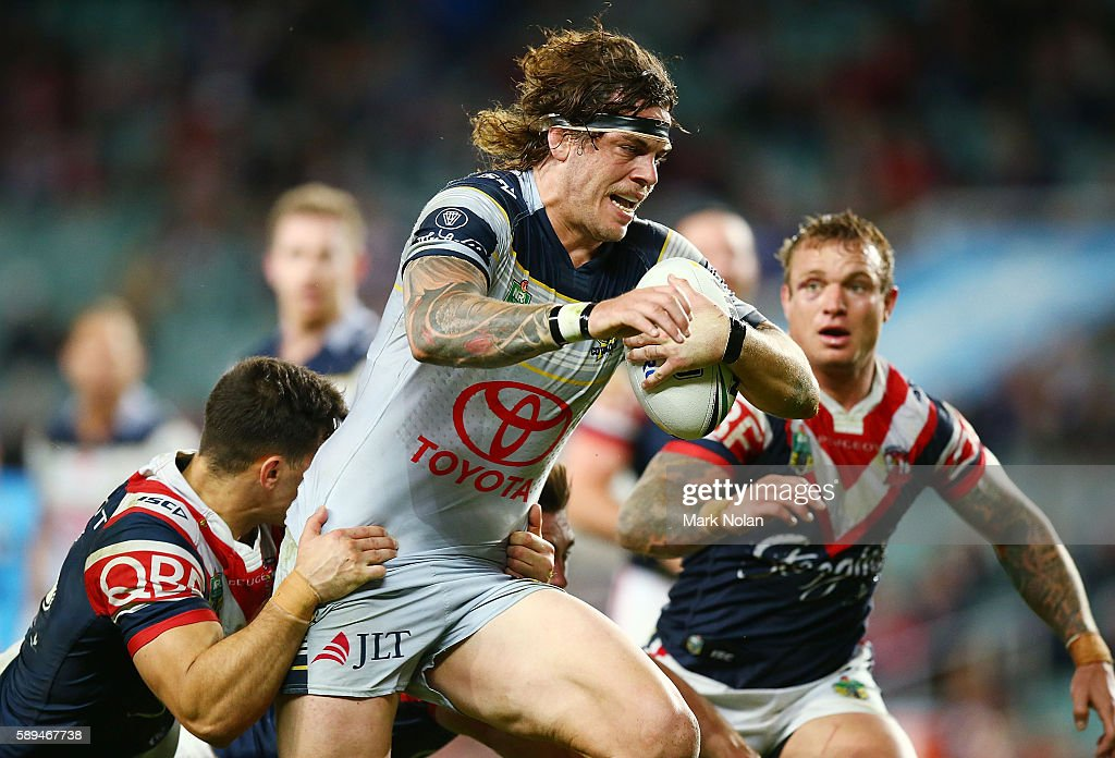 Ethan Lowe of the Cowboys runs the ball during the round 23 NRL match between the Sydney Roosters and the North Queensland Cowboys at Allianz Stadium on August 14, 2016 in Sydney, Australia.