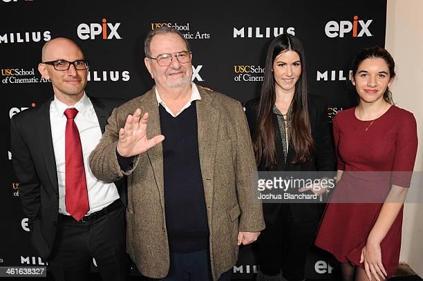 Ethan Milius John Milius Amanda Milius and guest arrive at EPIX USC Host An Evening With John Milius at USC Norris Theatre on January 9 2014 in Los...