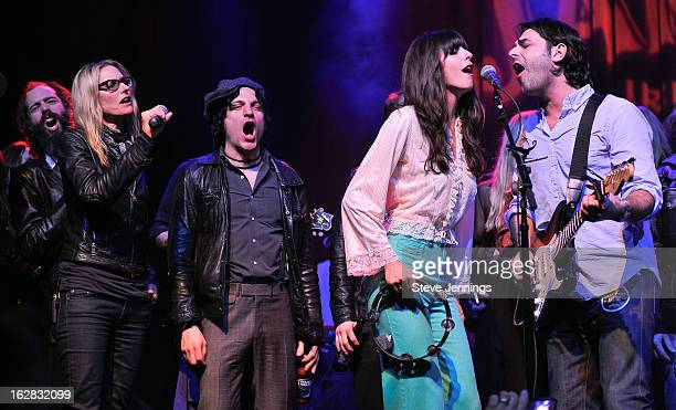 Ethan Miller Aimee Mann Jessie Malin Nicki Bluhm and Alex Levy perform on stage as Jameson Best Fest launches Petty Fest at The Fillmore on February...