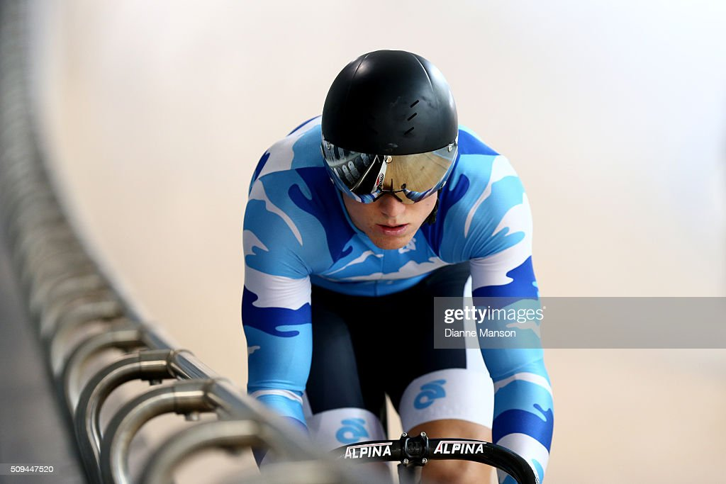 Ethan Mitchell of Auckland competes in the Elite Men Sprint during the New Zealand Track National Championships on February 11, 2016 in Cambridge, New Zealand.