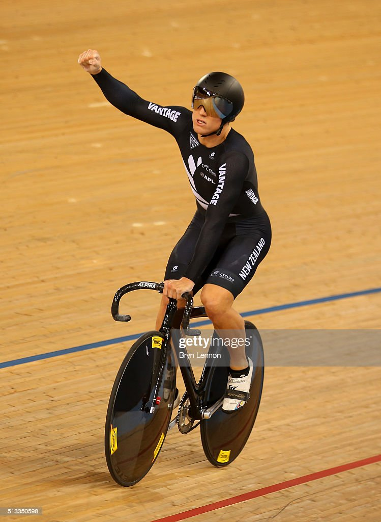 Ethan Mitchell of New Zealand celebrates after winning the Mens Team sprint during the UCI Track Cycling World Championships at Lee Valley Velopark Velodrome on March 2, 2016 in London, England.