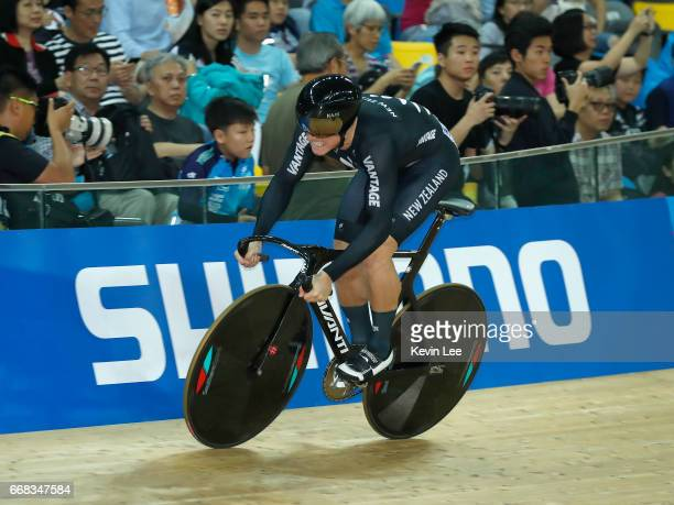 Ethan Mitchell of New Zealand competes in Men's Sprint Qualifying on Day 3 in 2017 UCI Track Cycling World Championships at Hong Kong Velodrome on...