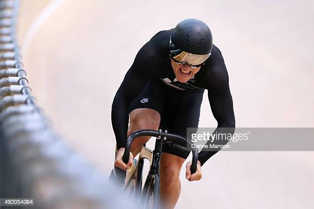 Ethan Mitchell of New Zealand competes in the Elite Men 200m Sprint qualifying during the Oceania Track Cycling Championships on October 10 2015 in...