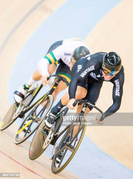 Ethan Mitchell of New Zealand competes in the Men's Sprint Quarterfinals 2nd Race during 2017 UCI World Cycling on April 15 2017 in Hong Kong Hong...