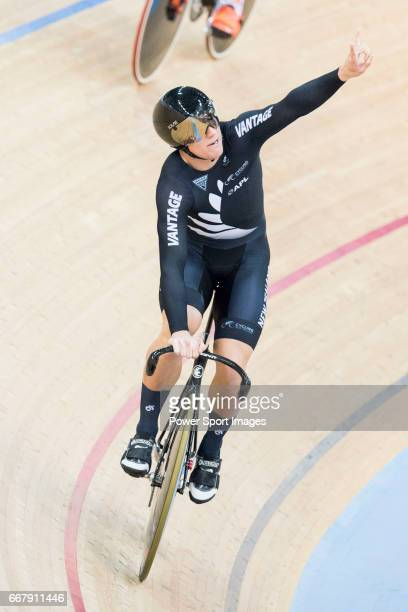 Ethan Mitchell of the team of New Zealand celebrates after the Men's Team Sprint Finals match during day one of the 2017 UCI World Cycling on April...