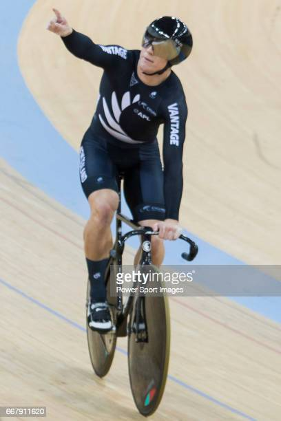Ethan Mitchell of the team of New Zealand celebrates after the Men's Team Sprint Finals match as part of the 2017 UCI Track Cycling World...