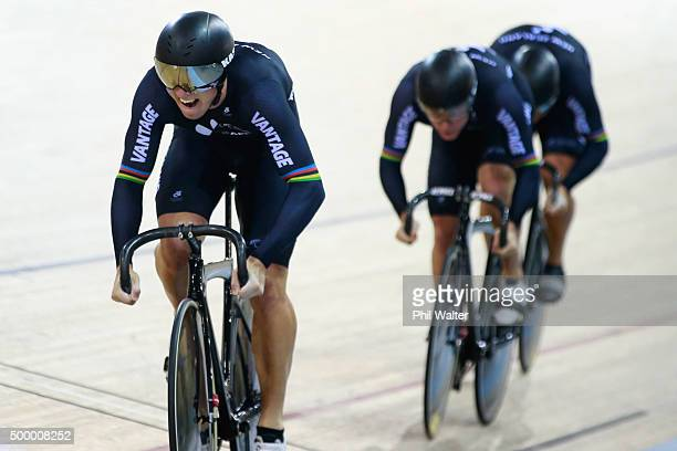 Ethan Mitchell Sam Webster and Eddie Dawkins of New Zealand compete in the final of the Men's Team Sprint during the 2015 UCI Track Cycling World Cup...