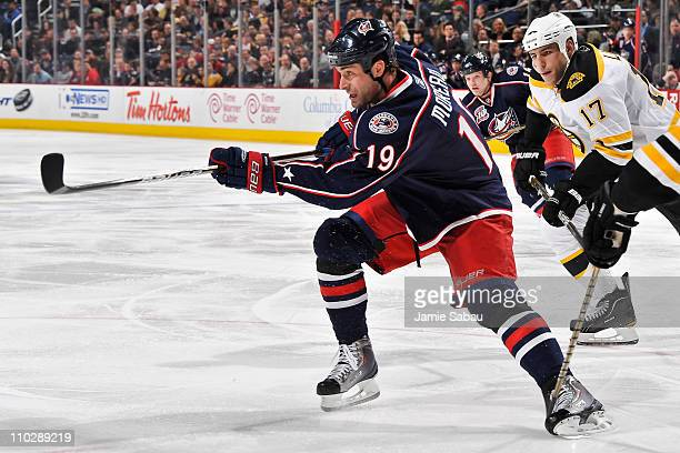Ethan Moreau of the Columbus Blue Jackets skates against the Boston Bruins on March 15 2011 at Nationwide Arena in Columbus Ohio