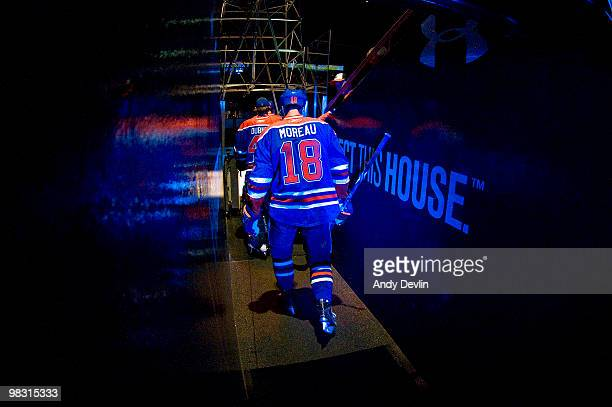 Ethan Moreau of the Edmonton Oilers heads to the ice for a game against the Colorado Avalanche at Rexall Place on April 7 2010 in Edmonton Alberta...