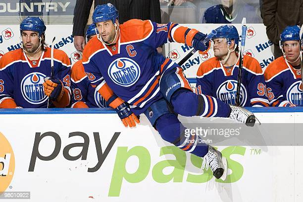 Ethan Moreau of the Edmonton Oilers jumps the boards to join the play against the Vancouver Canucks at Rexall Place on March 23 2010 in Edmonton...