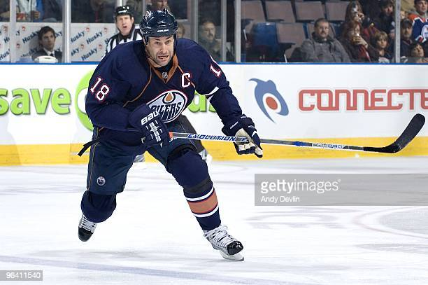Ethan Moreau of the Edmonton Oilers skates against the St Louis Blues at Rexall Place on January 28 2010 in Edmonton Alberta Canada The Blues beat...