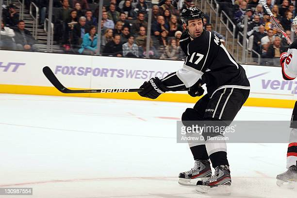 Ethan Moreau of the Los Angeles Kings looks for the puck against the New Jersey Devils at Staples Center on October 25 2011 in Los Angeles California...