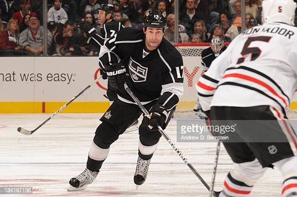 Ethan Moreau of the Los Angeles Kings skates against the Chicago Blackhawks at Staples Center on November 26 2011 in Los Angeles California