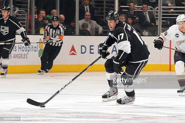 Ethan Moreau of the Los Angeles Kings skates with the puck against the Anaheim Ducks at Staples Center on November 16 2011 in Los Angeles California