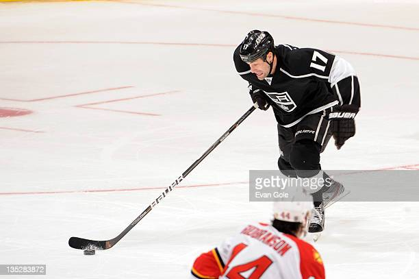 Ethan Moreau of the Los Angeles Kings skates with the puck against the Florida Panthers at Staples Center on December 1 2011 in Los Angeles California