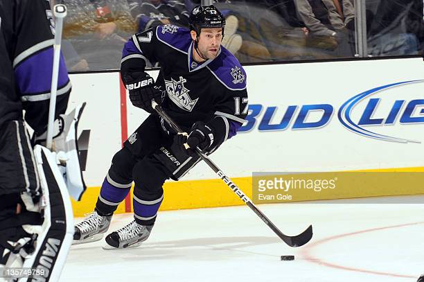 Ethan Moreau of the Los Angeles Kings skates with the puck against the Minnesota Wild at Staples Center on December 8 2011 in Los Angeles California
