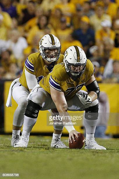 Ethan Pocic of the LSU Tigers hikes the ball to Danny Etling during a game at Tiger Stadium on September 17 2016 in Baton Rouge Louisiana