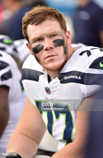 Ethan Pocic of the Seattle Seahawks watches from the sideline during a game against the Tennessee Titans at Nissan Stadium on September 24 2017 in...