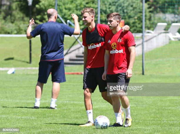 Ethan Robson and Lynden Gooch during day 5 of a Sunderland preseason camp on July 5 2017 in Obertraun Austria