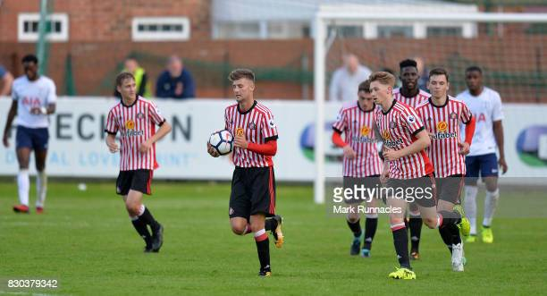 Ethan Robson of Sunderland celebrates scoring a goal with his team mates during the Premier League 2 match between Sunderland and Tottenham Hotspur...