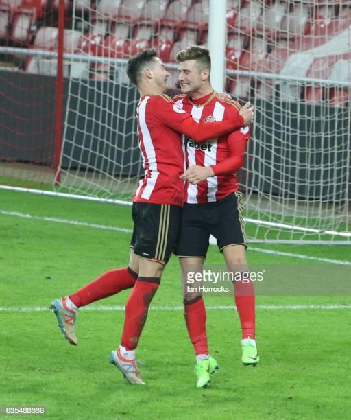 Ethan Robson of Sunderland celebrates scoring the opening goal during the Premier League International Cup Quarter Final match between Sunderland U23...