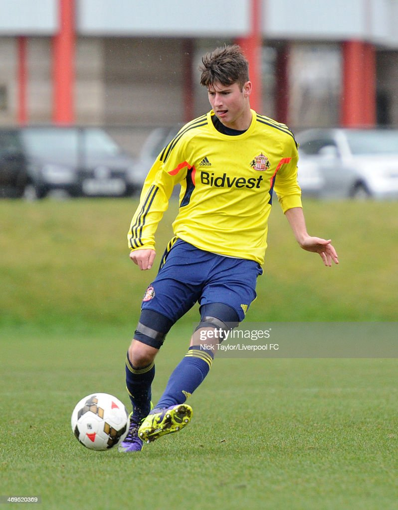 Ethan Robson of Sunderland in action during the Barclays Premier League Under 18 fixture between Liverpool and Sunderland at the Liverpool FC Academy on February 15 in Kirkby, England.