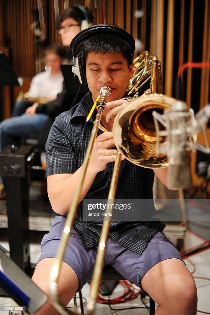 Ethan Santos at the GRAMMY Foundation(R)'s GRAMMY Camp(R) - Jazz Session studio recording at Capitol Studios & Mastering at Capitol Records Studio on February 12, 2016 in Hollywood, California.