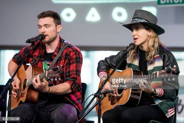 Ethan Thompson and Samantha Ronson of the group Ocean Park Standoff Perform at Build Studio on April 20 2017 in New York City